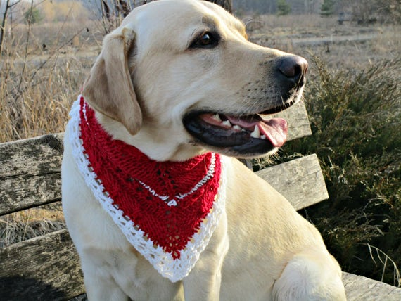 Christmas bandana Dog christmas scarf for big dogs Red white