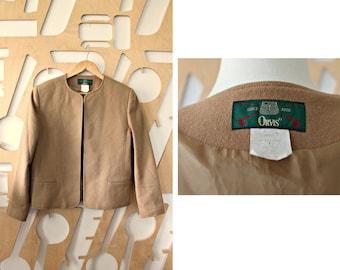 Wool Jacket Blazer Cropped jacket Bolero Preppy Hipster Boho Office wear Military Overcoat Casual Duster jacket Safari Festival Camel jacket