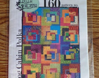 "Log Cabin Polka QUILT PATTERN Bella Nonna | 56"" x 74"" quilt 18.5"" squares 