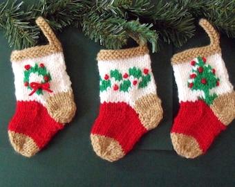 3 MINI HAND KNIT Christmas stockings