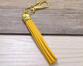 3pcs Long Tassels Keychains,Golden Yellow Suede Leather Tassel,Gold Plastic Cap,Gold Metal Key Clasp,Keychain Tassels Pendant,Tassel Bag