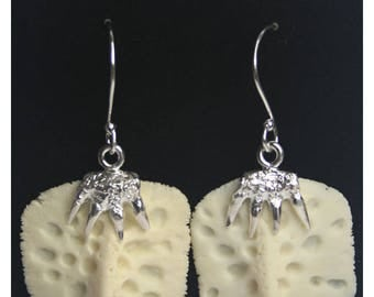 A24. Alligator Scute Sterling Silver Earrings with Claw Design