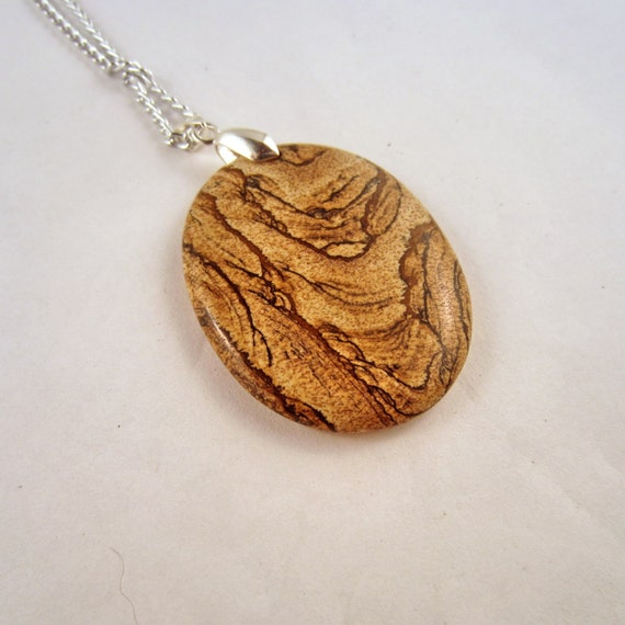 Picture Jasper  Necklace: rock Pendant, gemstone