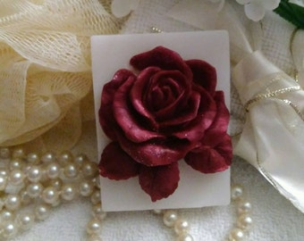 Red Rose Soap~Rose Soap~Burgundy Rose Soap~Guest Soap~Decorative Soap~Gift Soap~Mothers Day Gift~Handmade Designer Soap~Gift For Women~