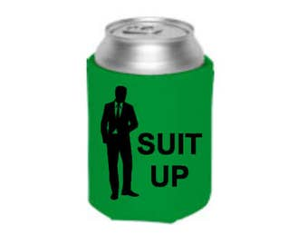 Best Man Can Cooler -  Suit Up!  - His and Her Gifts - Groomsman Gift - Gifts for Husband - Can Cooler - Camp Can Cooler