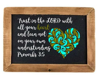 Trust in the Lord Heart Vinyl Decal, Verse Proverbs 3:5, DIY