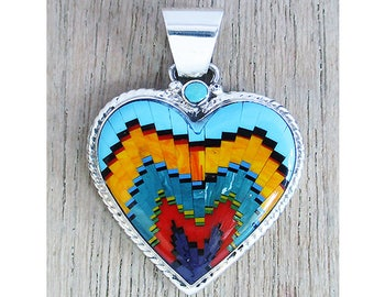 Pleasing Inlay Sterling Silver Heart Pendant
