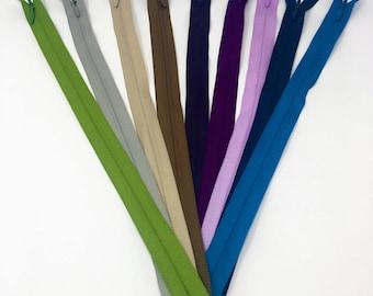 """11"""" YKK Invisible Zipper 25 Piece Multi-color Assortment Nylon Coil Closed Bottom"""
