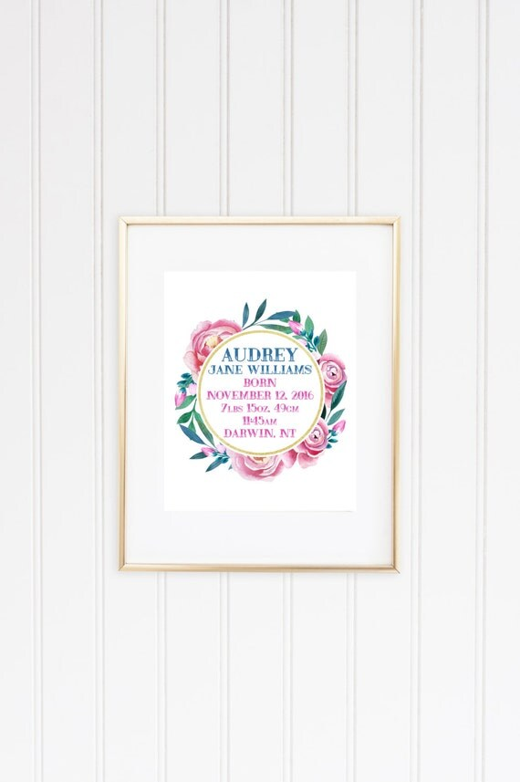 Customised Girls Birth Details Print 8x10 or 11x14 inch - floral wreath design - printable