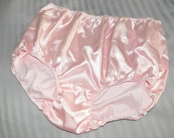 """BIG Soft satin panties in baby pink, lace free sissy wear, waist to 36"""",  Sissy Lingerie"""