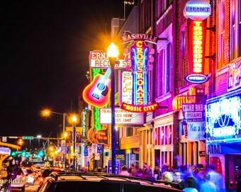Neon Art Print, Nashville Print, Nashville Wall Art, City Photos, Downtown Nashville, Broadway, Tennessee Art, Urban Signage, Nashville Art
