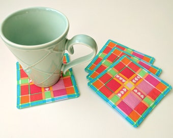 Fabric Coasters - Hearts and Plaid Coasters - Set of 4