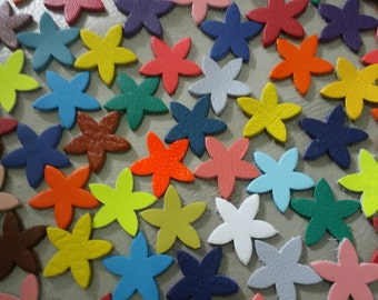 Leather Flowers, 50 pcs.,  15mm. 20mm. 25mm., Mixed Colors, Leather Flowers Die Cut, DIY Projects.