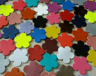 Leather Flowers, Leather Flowers Die Cut, Mixed Colors, 16mm.  20mm. 25mm. 30mm., Flowers Decoration, for DIY Projects.