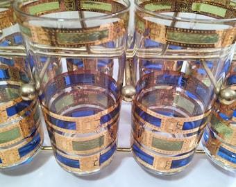 Culver Signed Empress Design 22-Karat Gold Vintage Highball Glasses (Set of 8 with Carrier)