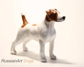 Jack Russell Terrier statue, figurine handmade of ceramic, statuette