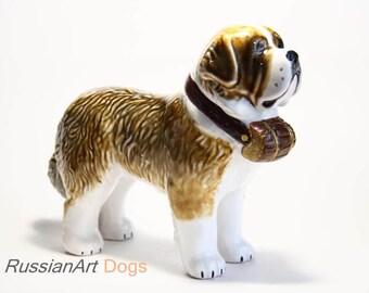 St. Bernard dog ceramic figurine handmade statue