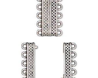 Magnetic Clasp, 5 Strand Clasp, Silver Clasp, 24.5x9mm rectangle, 1 Each, D1002