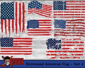 Distressed American Flag - Set 2  - SVG Cut File, Vinyl Cutter, Vector Art, Digital Download, Instant Download