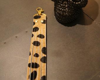 Leopard print tassel/keychain