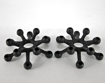 Dansk Design Cast Iron Spider Candle holders Pair Mid Century Modern Cast Iron Tapers Vintage