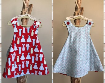 THE FIFTIES dress- Retro REVERSIBLE toddler pinafore- 12-24 months