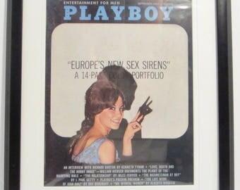 Vintage Playboy Magazine Cover Matted Framed : September 1963 - Joey Thorpe