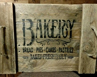 Rustic reclaimed wood serving tray, Bakery.