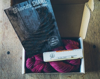 Fronds Shawl Kit ~ Crochet pattern, hook and yarn ~ a project in a box