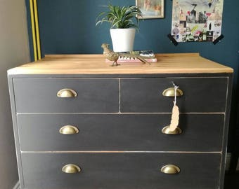 SOLD***Vintage industrial style chest of drawers