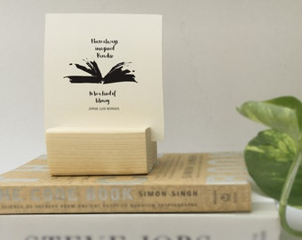 Book Lover gift, Literary gifts, Best gift for Librarians, Wood Block + 12 quotes to cherish books