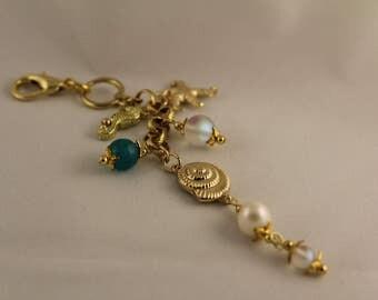 Nautical Agate, Freshwater Pearl, and Mystic Aura Gemstone Add On Pendant
