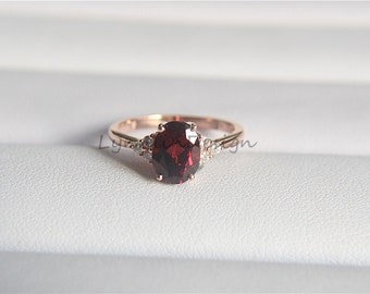 14k rose gold garnet engagement ring 6x8mm oval garnet diamond ring engagement ring diamond promise ring