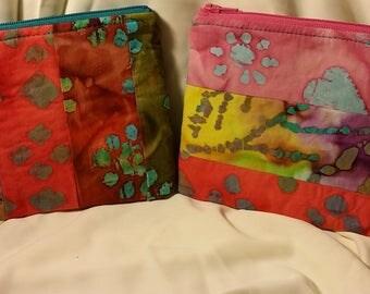 Batik clutches - soft, zippered, lined - Unique, colorful