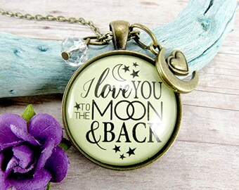I Love You To The Moon and Back Pendant Necklace Mother Adoption Gift Mum Daughter Necklace Birthday Gift Mum