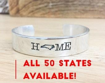 State Bracelet Cuff - Hand Stamped State Bracelet - United States Jewelry - State Shape Bracelet - Home State -North Carolina -Home Bracelet