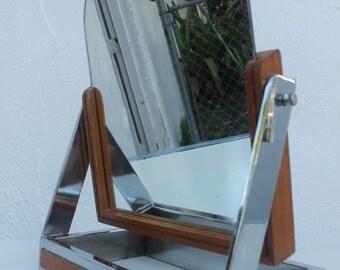 Chrome And Wood Vanity Mirror .