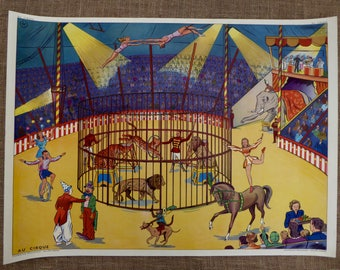 Vintage Circus Poster, French Poster, Au Cirque, French Vintage School, 1950s, Lion tamer, Clowns, Cafe,  Shop display, Performance
