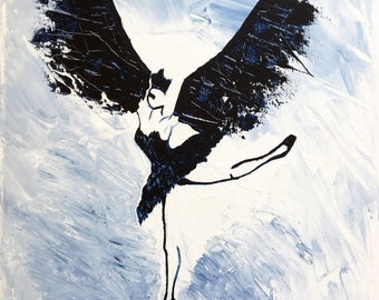 Original acrylic painting, Black Bird, classical dancer, Swan lake, Odile, painting, Black swan, dancer