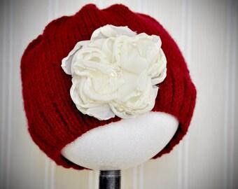 Winter Hat Girls Hand Knit Cherry Red  Toddler  Vintage Flower