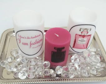 Designer Inspired Black & Pink Perfume Bottle Candle Set, vanity candle, decorative candle, logo candle, personalized candle, gifts