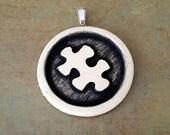 Puzzle Piece Pendant - Puzzle Piece Jewelry - Autism Pendant - Clay Pendant - Ceramic Pendant - Stoneware Pendant - Pottery Pendant