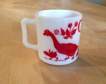 Hazel Atlas  milk glass ABC cup G is for Goose