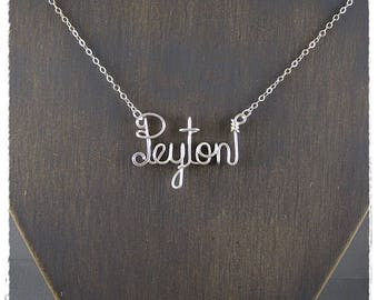 Peyton Wire Word Name Pendant Necklace