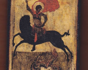St.George οn a black horse, Byzantine icon.Christian orthodox icon. FREE SHIPPING