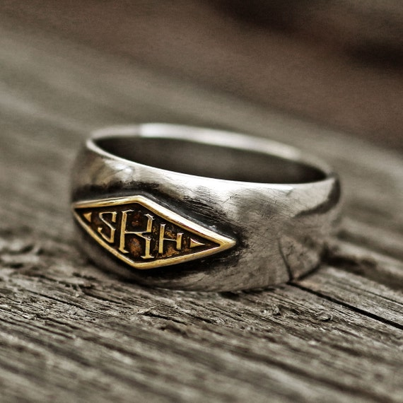 Monogram Ring Word Ring Initial Ring Name Ring Mens Ring