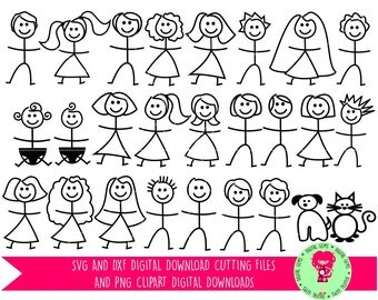 Stick People SVG Cutting Files for Cricut Explore / Silhouette Cameo & PNG Clipart Files, Digital Download, Commercial Use Ok.