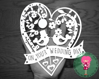 Wedding Day paper cut svg / dxf / eps / files and pdf / png printable templates for hand cutting. Digital download. Commercial use ok.