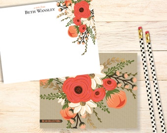 Personalized notecards - ELEGANT CORAL FLORAL notecards - Monogram stationery - thank you notes