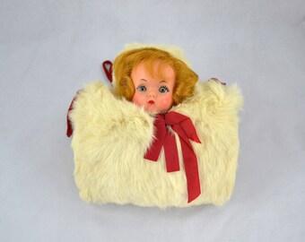 Vintage Child's Muff, Rabbit Fur Doll Muff